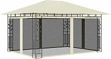 Pavillon mit Moskitonetz 4x3x2,73 m Creme 180 g/m²