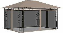 Pavillon mit Moskitonetz 4x3x2,73 m Taupe 180 g/m2
