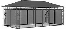 Pavillon mit Moskitonetz 6x3x2,73 m Anthrazit -