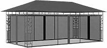 Pavillon mit Moskitonetz 6x3x2,73 m Anthrazit