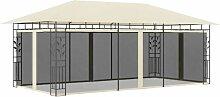 Pavillon mit Moskitonetz 6x3x2,73 m Creme - Youthup