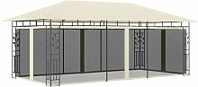Pavillon mit Moskitonetz 6x3x2,73 m Creme