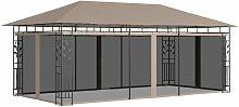 Pavillon mit Moskitonetz 6x3x2,73 m Taupe 180 g/m2