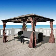Pavillon mit Vorhängen Braun Aluminium 400 x 300