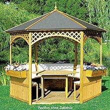 Pavillon PALMA IV mit Holzdach + Dachpappe Gartenlaube 326x326x280cm NEU