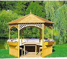 Pavillon Palma mit Holzdach mit oder ohne Möbel Holzpavillon, Ausstattung:mit Möbel