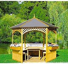 Pavillon Palma mit Holzdach u. Dachpappe mit oder ohne Möbel Holzpavillon, Ausstattung:mit Möbel