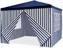 Pavillon Partyzelt 3x3m blau weiß wasserdicht 4