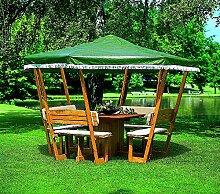 Pavillon ROSENHEIM Gartenlaube Holzpavillon 304x304cm wahlweise mit weißem oder grünen Dach (Grün)