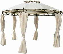 Pavillon rund 3,5 m beige Sonnenschutz Gartenpavillon Partyz