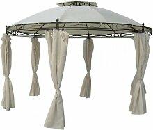 Pavillon rund Ø 350cm beige inkl. Seitenteile Zelt NEU