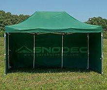 Pavillon Schnell 3x 4.5grün in Stahl 30mm + seitliche. Wasserdicht 100% garantier