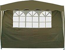 Pavillon Seitenteil mit Fenster oliv 3 x 1,9 m Seitenwand