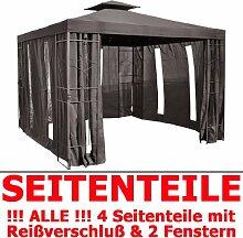 Pavillon Seitenteile ANTHRAZIT mit Fenster & Reißverschluß an JEDER Seite Pavillion grau