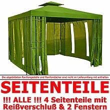Pavillon Seitenteile WALDGRÜN mit Fenster & Reißverschluß an JEDER Seite Pavillion