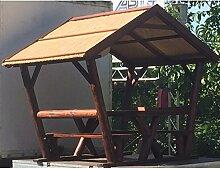 Pavillon überdachte Sitzgruppe mit ca. 200x176cm und einer Höhe von 237cm - Pfosten für Sichtschutzwände, Elementhalter, Gartenpfosten, Zaunpfosten, Einschlaghülsen, Aufschraubhülsen, Pfosten zum einbetonieren, Pfosten für den Erdverbau, Pfostenträger, U Montageprofil, WPC Zubehör, Aufschraubpfosten, --> großes Sortiment an Sichtschutz, Bambus, Schilf, Naturprodukte und Zubehör für Garten
