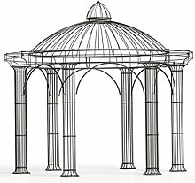 Pavillons, Garten Pavillon, Metall Pavillon, Pavillon Stahl, Rankpavillon Athene Ø 300 cm (Eisenblank)