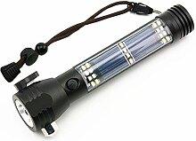 Pawaca Solar LED Taschenlampe Handheld Taschenlampe Einstellbarer Fokus USB Ladegerät Taschenlampe - Multifunktions-LED-Licht mit Auto-Notfall-Tool, Attack Hammer, Schneidmesser, Kompass Etc. für Camping, Reisen, Wandern Sicherhei