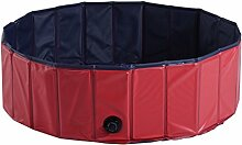 PawHut Hundepool Planschbecken Schwimmbecken Schwimmbad Hundebad, PVC+Holz, Blau/Rot, Φ140x30cm (Modell4)