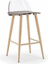 PC Material Rückenlehne, lackiert Stahl Rohrhalter, PP Kunststoff Kissen, Bar Stuhl, Bar Hocker (Farbe : Grau)