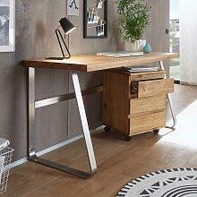 PC Schreibtisch aus Asteiche Massivholz Edelstahl Optik