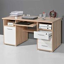 PC Schreibtisch in Eiche Sonoma Weiß