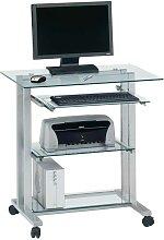 PC Tisch auf Rollen mit Glasplatte