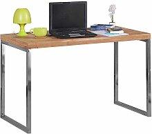 PC Tisch aus Akazie Massivholz Metall verchromt