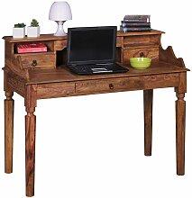 PC Tisch aus Sheesham Massivholz mit Aufsatz