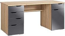PC-Tisch in Grau-Eichefarben Grau Hochglanz