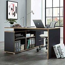 PC Tisch mit Sideboard Anthrazit Eiche Sonoma Pharao24