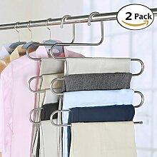 PCS Hosen Kleiderbügel S-Type Edelstahl Hosen Rack 5Schichten Mehrzweck-Closet Kleiderbügel magic Space Saver Storage Rack für Kleidung Handtuch Schal Hose Krawatte, edelstahl, 2 PCS