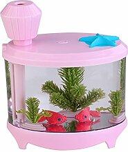 PDXD-SHARE USB-Fisch-Behälter-Luftbefeuchter Luftreiniger Baby-Luftbefeuchter mit LED-Nachtlicht (Pink)