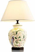 Peaceip Keramik Tischlampe handbemalte Blumen und