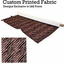 Peach Zebra Animal Print Design Digital Print Strick 28Gauge Leiter Widerstehen Stoff 149,9cm Breite hergestellt in Yorkshire