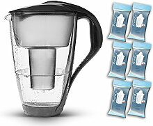 PearlCo Glas-Wasserfilter (anthrazit) - Halbjahres-Paket inkl. 6 classic Filterkartuschen (kompatibel mit Brita classic)