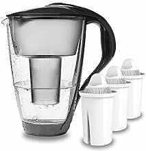 PearlCo - Glas-Wasserfilter (anthrazit) mit 3