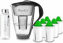 PearlCo - Glas-Wasserfilter (anthrazit) mit 6