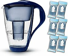 PearlCo Glas-Wasserfilter (dunkelblau) - Halbjahres-Paket inkl. 6 classic Filterkartuschen (kompatibel mit Brita classic)