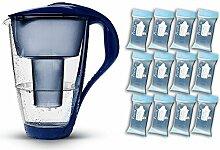 PearlCo Glas-Wasserfilter (dunkelblau) - Jahres-Paket inkl. 12 classic Filterkartuschen (kompatibel mit Brita classic)