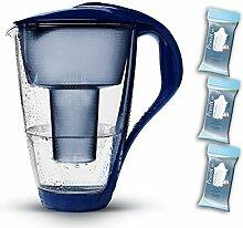 PearlCo Glas-Wasserfilter (dunkelblau) Starter-Paket inkl. 3 classic Filterkartuschen (kompatibel mit Brita Classic)