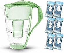 PearlCo Glas-Wasserfilter (grün) - Halbjahres-Paket inkl. 6 classic Filterkartuschen (kompatibel mit Brita classic)