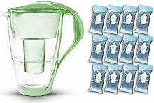 PearlCo Glas-Wasserfilter (grün) - Jahres-Paket inkl. 12 classic Filterkartuschen (kompatibel mit Brita classic)