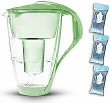 PearlCo Glas-Wasserfilter (grün) Starter-Paket inkl. 3 classic Filterkartuschen (kompatibel mit Brita Classic)