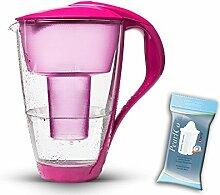 PearlCo Glas-Wasserfilter (pink) inkl. 1 classic Filterkartusche (kompatibel mit Brita Classic)