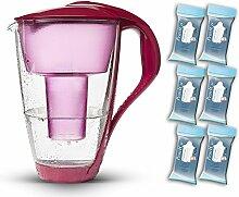 PearlCo Glas-Wasserfilter (rot) - Halbjahres-Paket inkl. 6 classic Filterkartuschen (kompatibel mit Brita classic)