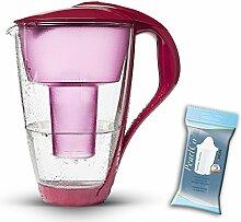 PearlCo Glas-Wasserfilter (rot) inkl. 1 classic Filterkartusche (kompatibel mit Brita Classic)