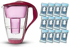 PearlCo Glas-Wasserfilter (rot) - Jahres-Paket inkl. 12 classic Filterkartuschen (kompatibel mit Brita classic)
