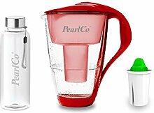 PearlCo - Glas-Wasserfilter (rot) mit 1 Alkaline