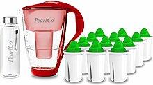 PearlCo - Glas-Wasserfilter (rot) mit 12 Alkaline